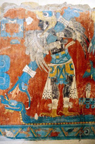 Mural del Hombre ave en Cacaxtla