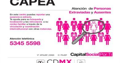 CAPEA Centro de Apoyo a Personas Extraviadas y Ausentes.