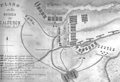 Mapa operaciones. Puente de Calderón. Dominio Público